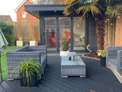 Garden Room In Nottingham, With Composite Decking For Outdoor Seating Area